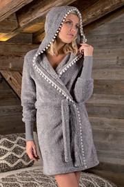 Ženski ogrtač Pompon sivi