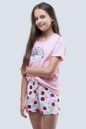 Ljetna pidžama za djevojčice Cats roza