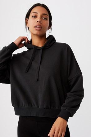 Ženska majica s kapuljačom crna Favourite Oversized