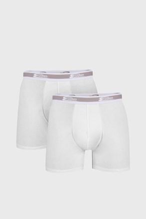 2 PACK bijelih bokserica s dužim nogavicama UOMO