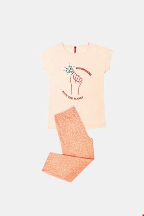 Pidžama za djevojčice Save planet narančasta
