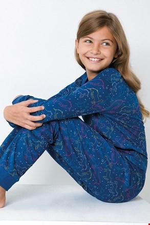 Pidžama za djevojčice s jednorozima plava