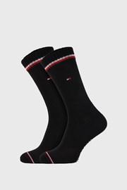 2 PACK crnih visokih čarapa Tommy Hilfiger Iconic