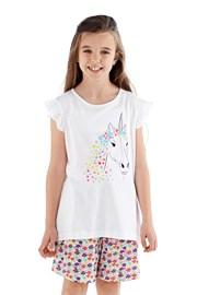Pidžama za djevojčice Polly kratka bijela