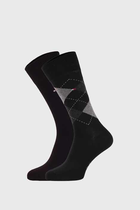 2 PACK crnih čarapa Tommy Hilfiger Check