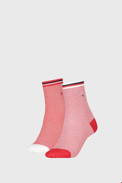 2 PACK ženskih čarapa Tommy Hilfiger Honeycomb Red