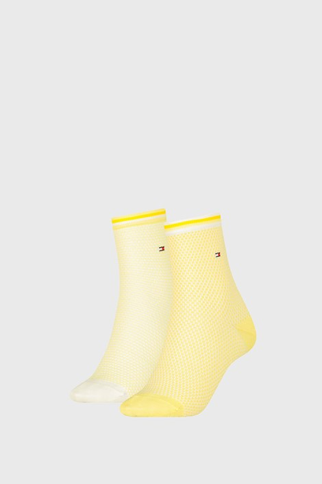 2 PACK ženskih čarapa Tommy Hilfiger Honeycomb Yellow