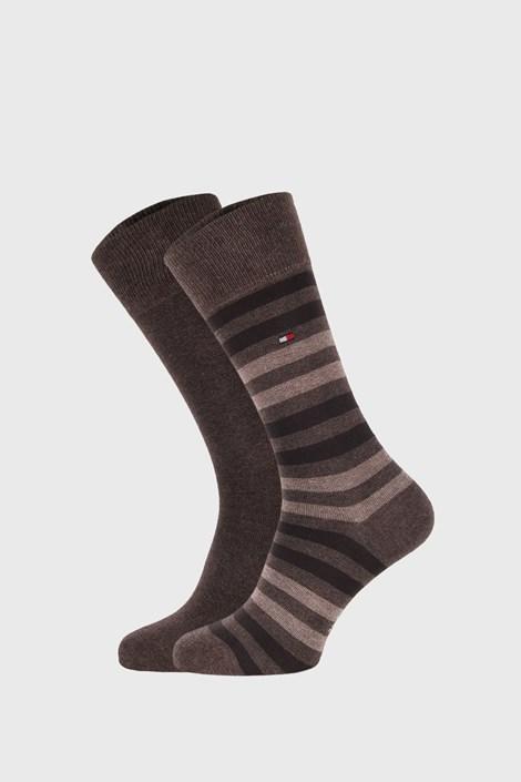 2 PACK smeđo-bež čarapa Tommy Hilfiger Duo Stripe