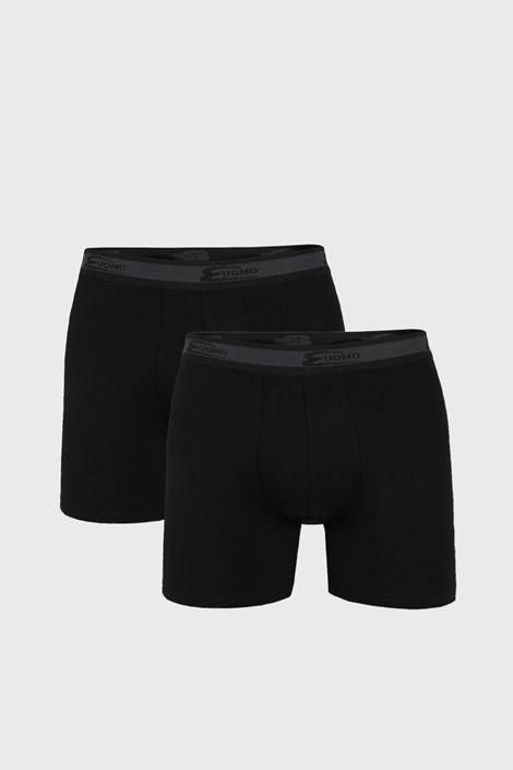 2 PACK crnih bokserica s dužim nogavicama UOMO