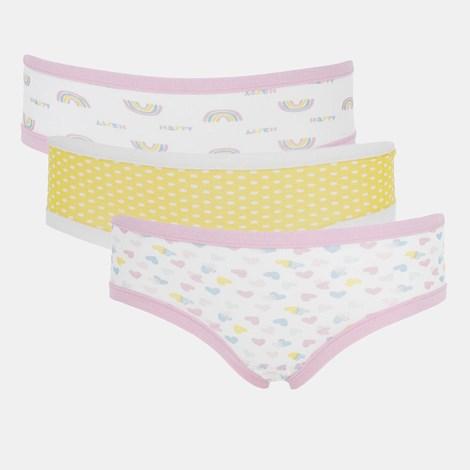 3 PACK gaćica za djevojčice Basic Cotton Rainbow