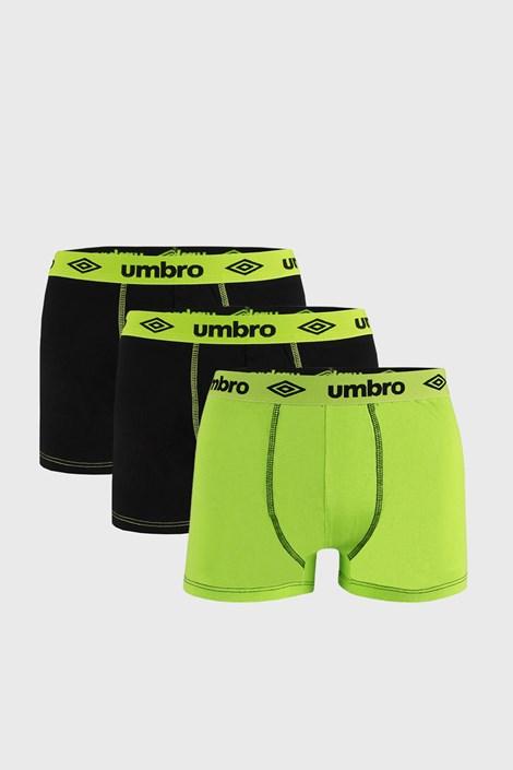 3 PACK crno-zelenih bokserica Umbro BIO